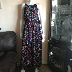 Universal Thread Black Red Blue Floral Maxi Dress